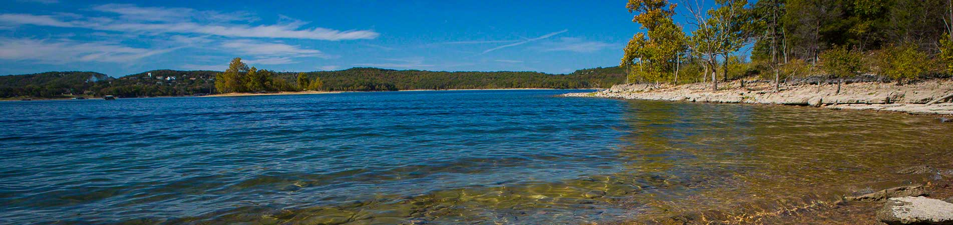 The shoreline located just a few blocks from some of our Branson lake cabins for sale.